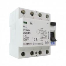 25А 30mA 4P 10kA ТИП B RCD/RCCB  пристрій захисного відключення SEZ 8866