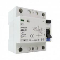 40A 30mA 2P 10kA ТИП B RCD/RCCB  пристрій захисного відключення SEZ