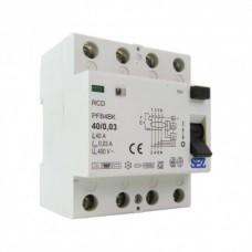 40А 30mA 4P 10kA ТИП А RCD/RCCB  пристрій захисного відключення SEZ