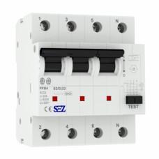 63А 30mA 4P 10kA ТИП A  пристрій захисного відключення PFB4 УЗО SEZ 5449