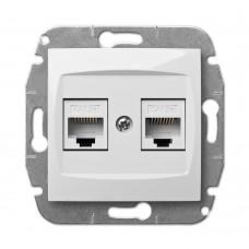 Розетка подвійна компьютерна 2xRJ45 cat 5e CARLA 1749-10