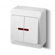 Зовнішній вимикач двоклавішний з підсвічуванням 0342-02